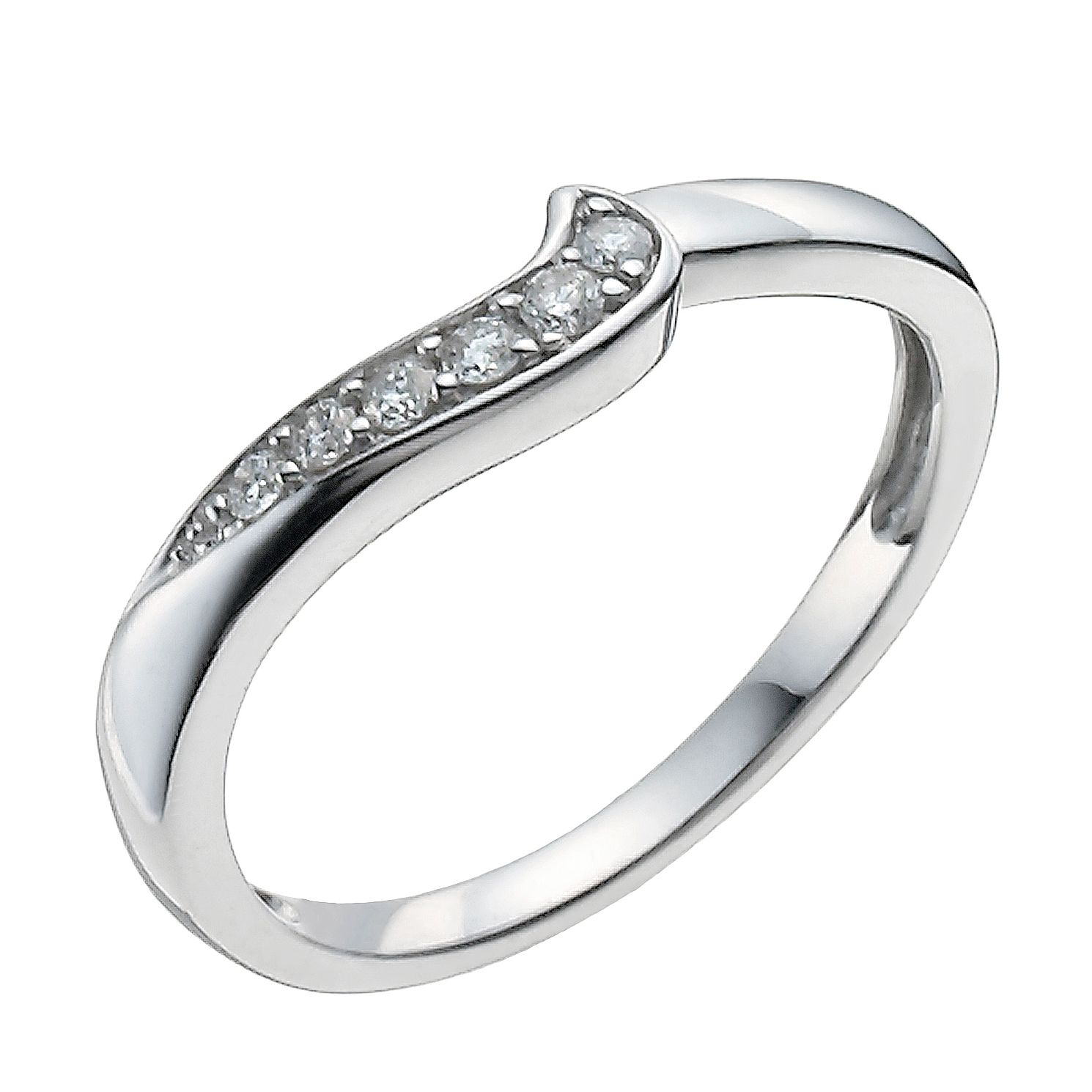 9ct White Gold 0.10ct Diamond Shaped Band - Product number 9962921