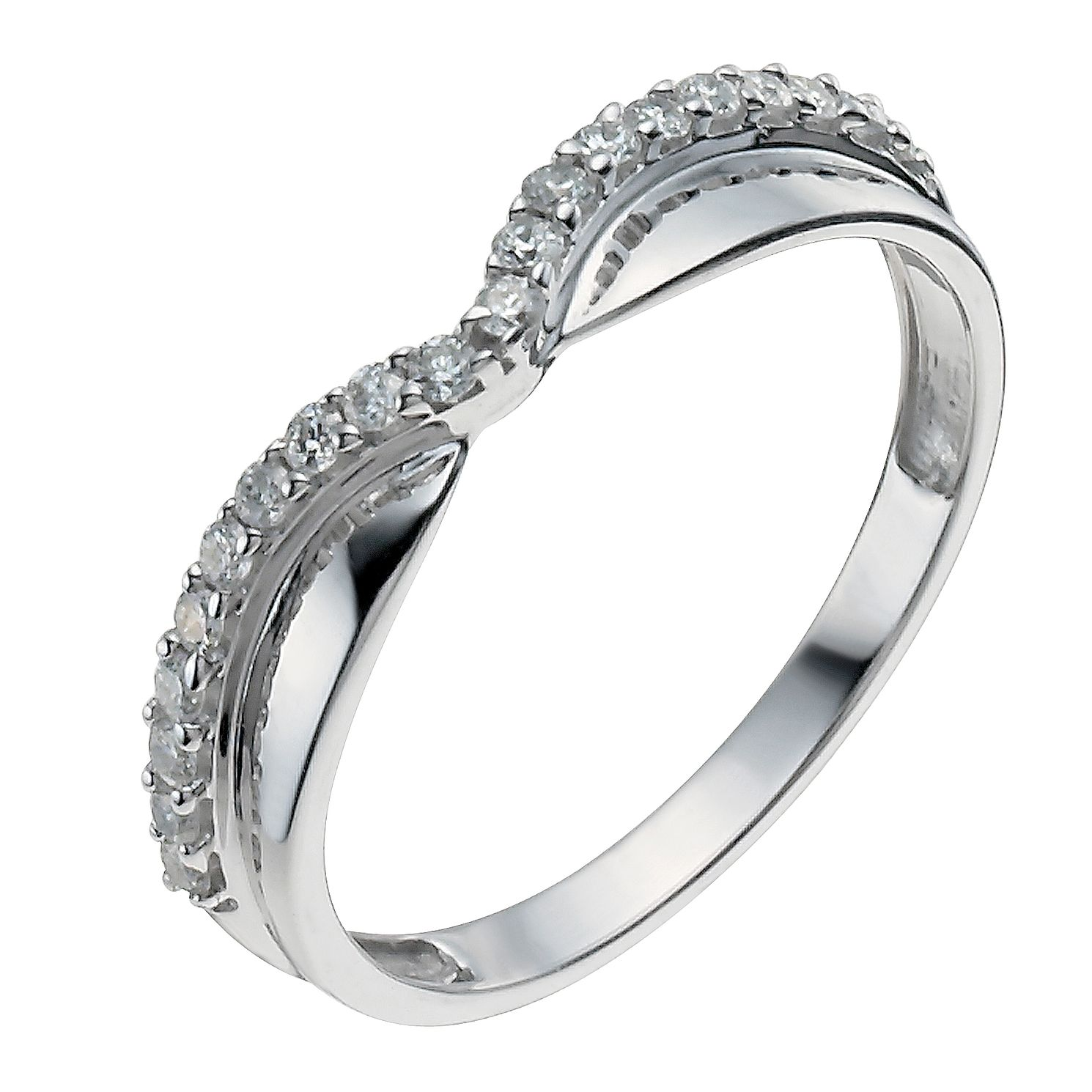 9ct White Gold Shaped 0.20ct Diamond Ring - Product number 9964371