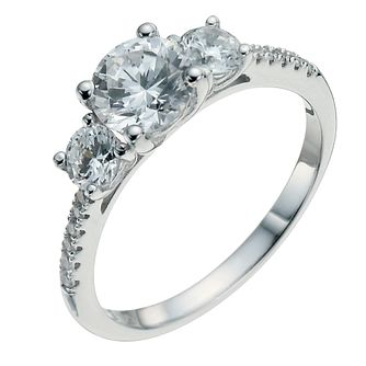 Sterling Silver Cubic Zirconia Trilogy Three Stone Ring - Product number 9968008