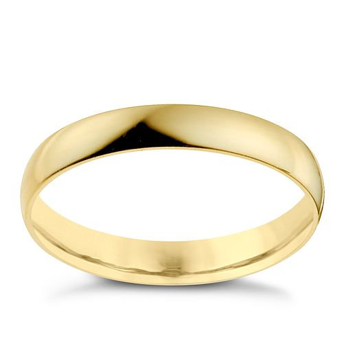 18ct Yellow Gold 3mm Heavy D Shape Ring - Product number 9969217