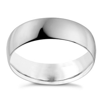 18ct White Gold 6mm Heavy D Shape Ring - Product number 9969438