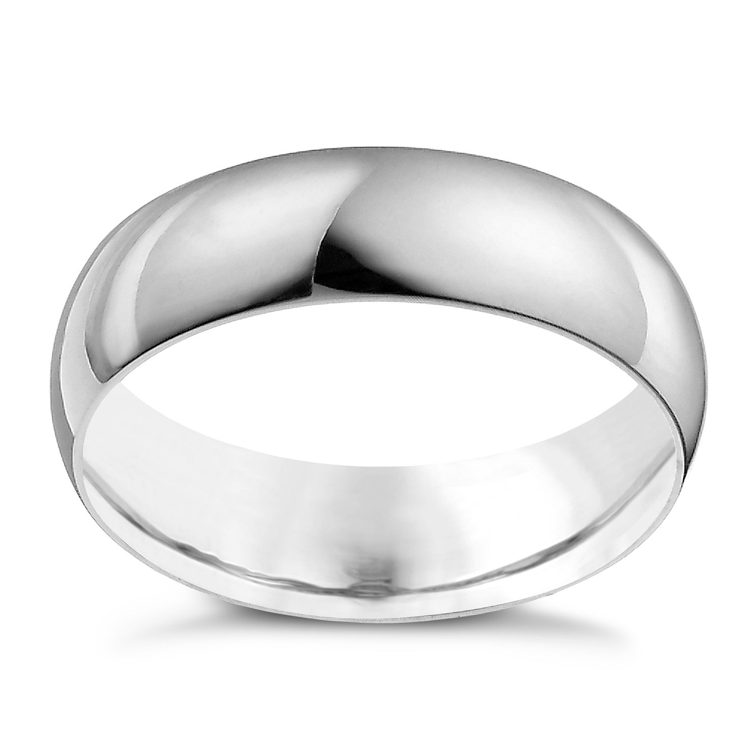 18ct White Gold 6mm Extra Heavy D Shape Ring - Product number 9969683