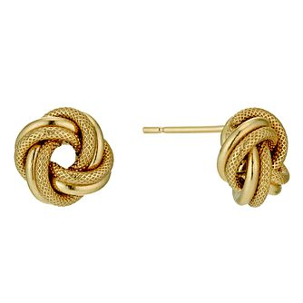 9ct yellow gold knot stud earrings 9mm - Product number 9975578