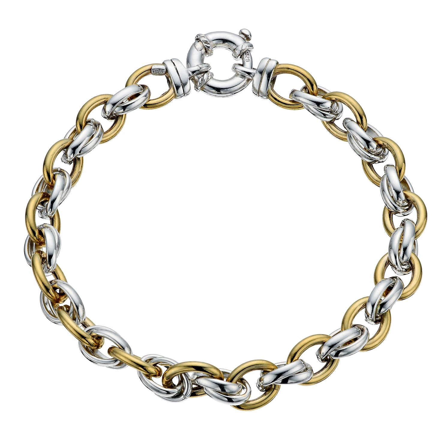 9ct Yellow Gold & Sterling Silver Linked Bracelet - Product number 9978518