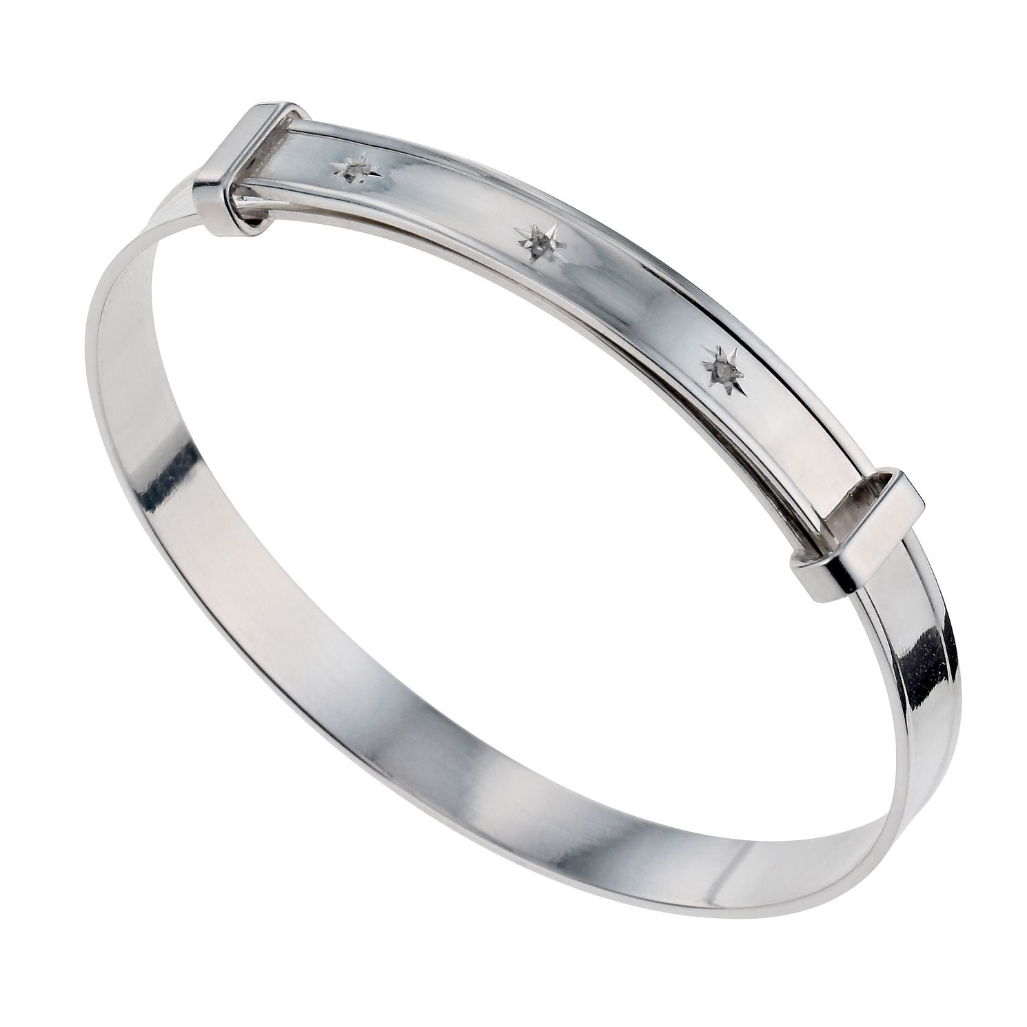 Children's Sterling Silver 0.11ct Diamond Expander Bangle - Product number 9986251