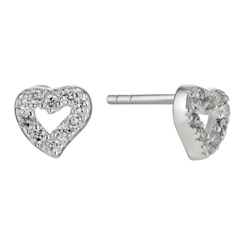 Children's Sterling Silver Cubic Zirconia Heart Earrings - Product number 9986820