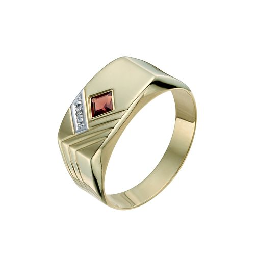 Men's 9ct Yellow Gold Garnet & Diamond Signet Ring - Product number 9991999