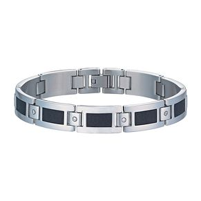 Men's Stainless Steel Black Glitz Cubic Zirconia Bracelet - Product number 9994483