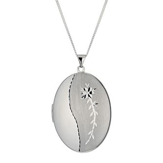 Sterling Silver Large Diamond Cut Satin Oval Locket - Product number 9995013